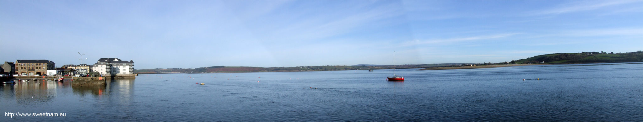 Panoramic photo of Youghal looking up the River Blackwater, taken from Youghal Jetty.