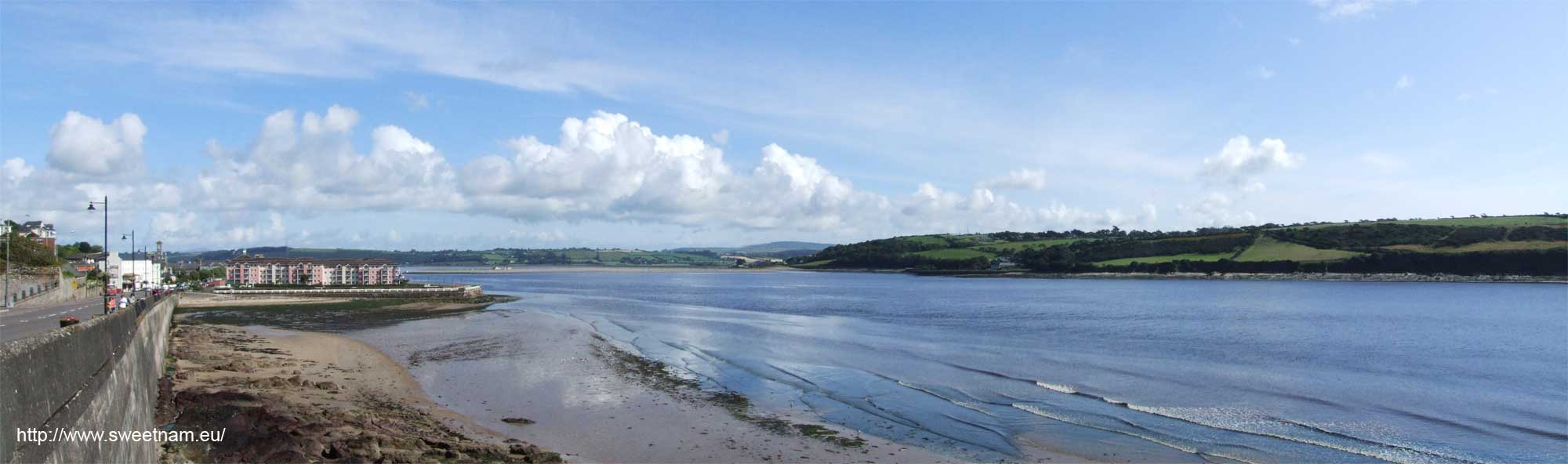 Panoramic photo of Youghal looking up the Rivert  Blackwater, taken from the viewing platform by Youghal Lighthouse.